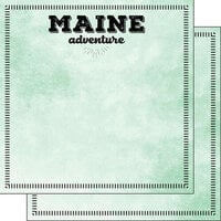 Scrapbook Customs - Postage Adventure Collection - 12 x 12 Double Sided Paper - Maine
