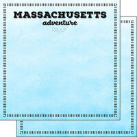 Scrapbook Customs - Postage Adventure Collection - 12 x 12 Double Sided Paper - Massachusetts