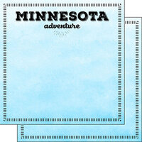 Scrapbook Customs - Postage Adventure Collection - 12 x 12 Double Sided Paper - Minnesota