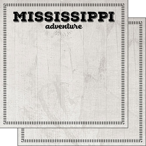 Scrapbook Customs - Postage Adventure Collection - 12 x 12 Double Sided Paper - Mississippi
