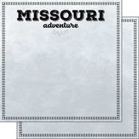 Scrapbook Customs - Postage Adventure Collection - 12 x 12 Double Sided Paper - Missouri