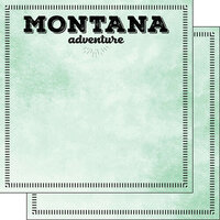 Scrapbook Customs - Postage Adventure Collection - 12 x 12 Double Sided Paper - Montana