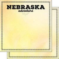 Scrapbook Customs - Postage Adventure Collection - 12 x 12 Double Sided Paper - Nebraska