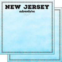 Scrapbook Customs - Postage Adventure Collection - 12 x 12 Double Sided Paper - New Jersey