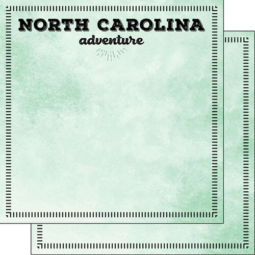 Scrapbook Customs - Postage Adventure Collection - 12 x 12 Double Sided Paper - North Carolina