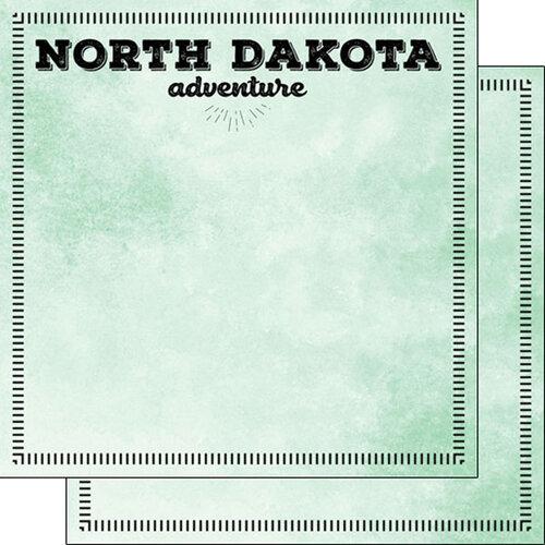 Scrapbook Customs - Postage Adventure Collection - 12 x 12 Double Sided Paper - North Dakota