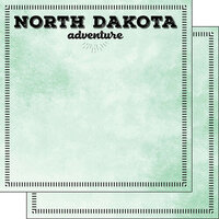 Scrapbook Customs - Postage Adventure Collection - 12 x 12 Double Sided Paper - North Dakota