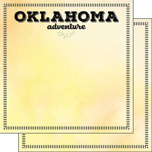 Scrapbook Customs - Postage Adventure Collection - 12 x 12 Double Sided Paper - Oklahoma