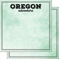 Scrapbook Customs - Postage Adventure Collection - 12 x 12 Double Sided Paper - Oregon