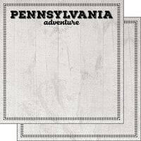 Scrapbook Customs - Postage Adventure Collection - 12 x 12 Double Sided Paper - Pennsylvania