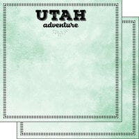 Scrapbook Customs - Postage Adventure Collection - 12 x 12 Double Sided Paper - Utah