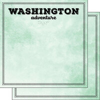 Scrapbook Customs - Postage Adventure Collection - 12 x 12 Double Sided Paper - Washington