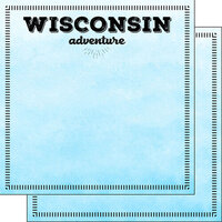 Scrapbook Customs - Postage Adventure Collection - 12 x 12 Double Sided Paper - Wisconsin