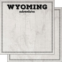 Scrapbook Customs - Postage Adventure Collection - 12 x 12 Double Sided Paper - Wyoming