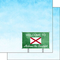 Scrapbook Customs - Welcome Road Sign Collection - 12 x 12 Double Sided Paper - Alabama