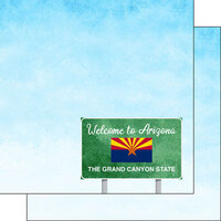 Scrapbook Customs - Welcome Road Sign Collection - 12 x 12 Double Sided Paper - Arizona