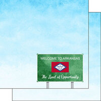 Scrapbook Customs - Welcome Road Sign Collection - 12 x 12 Double Sided Paper - Arkansas