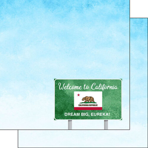 Scrapbook Customs - Welcome Road Sign Collection - 12 x 12 Double Sided Paper - California
