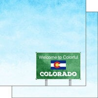 Scrapbook Customs - Welcome Road Sign Collection - 12 x 12 Double Sided Paper - Colorado
