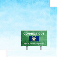 Scrapbook Customs - Welcome Road Sign Collection - 12 x 12 Double Sided Paper - Connecticut
