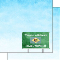 Scrapbook Customs - Welcome Road Sign Collection - 12 x 12 Double Sided Paper - Delaware