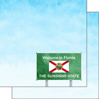 Scrapbook Customs - Welcome Road Sign Collection - 12 x 12 Double Sided Paper - Florida