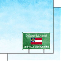 Scrapbook Customs - Welcome Road Sign Collection - 12 x 12 Double Sided Paper - Georgia