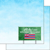 Scrapbook Customs - Welcome Road Sign Collection - 12 x 12 Double Sided Paper - Hawaii