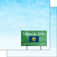 Scrapbook Customs - Welcome Road Sign Collection - 12 x 12 Double Sided Paper - Idaho