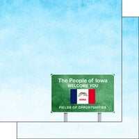 Scrapbook Customs - Welcome Road Sign Collection - 12 x 12 Double Sided Paper - Iowa