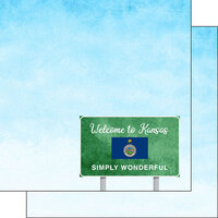 Scrapbook Customs - Welcome Road Sign Collection - 12 x 12 Double Sided Paper - Kansas