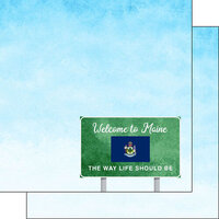 Scrapbook Customs - Welcome Road Sign Collection - 12 x 12 Double Sided Paper - Maine