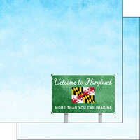 Scrapbook Customs - Welcome Road Sign Collection - 12 x 12 Double Sided Paper - Maryland