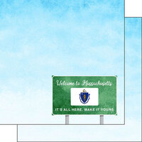 Scrapbook Customs - Welcome Road Sign Collection - 12 x 12 Double Sided Paper - Massachusetts