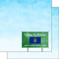 Scrapbook Customs - Welcome Road Sign Collection - 12 x 12 Double Sided Paper - Michigan