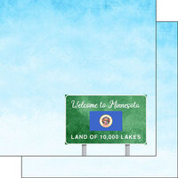 Scrapbook Customs - Welcome Road Sign Collection - 12 x 12 Double Sided Paper - Minnesota