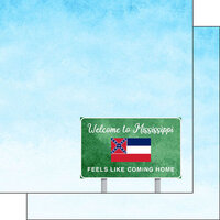 Scrapbook Customs - Welcome Road Sign Collection - 12 x 12 Double Sided Paper - Mississippi