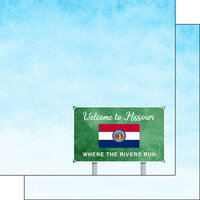 Scrapbook Customs - Welcome Road Sign Collection - 12 x 12 Double Sided Paper - Missouri