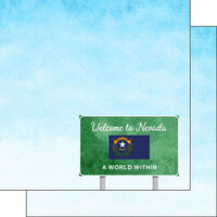 Scrapbook Customs - Welcome Road Sign Collection - 12 x 12 Double Sided Paper - Nevada