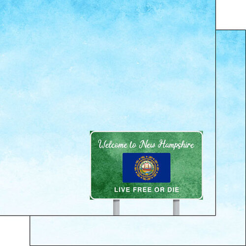 Scrapbook Customs - Welcome Road Sign Collection - 12 x 12 Double Sided Paper - New Hampshire
