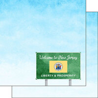 Scrapbook Customs - Welcome Road Sign Collection - 12 x 12 Double Sided Paper - New Jersey