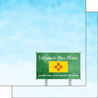 Scrapbook Customs - Welcome Road Sign Collection - 12 x 12 Double Sided Paper - New Mexico