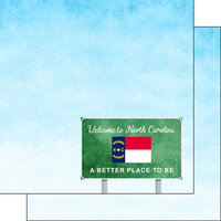 Scrapbook Customs - Welcome Road Sign Collection - 12 x 12 Double Sided Paper - North Carolina