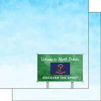 Scrapbook Customs - Welcome Road Sign Collection - 12 x 12 Double Sided Paper - North Dakota