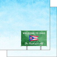Scrapbook Customs - Welcome Road Sign Collection - 12 x 12 Double Sided Paper - Ohio