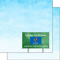 Scrapbook Customs - Welcome Road Sign Collection - 12 x 12 Double Sided Paper - Oklahoma