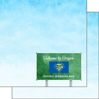 Scrapbook Customs - Welcome Road Sign Collection - 12 x 12 Double Sided Paper - Oregon