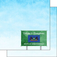 Scrapbook Customs - Welcome Road Sign Collection - 12 x 12 Double Sided Paper - Pennsylvania