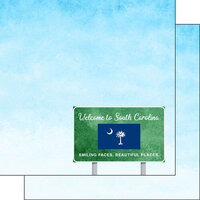 Scrapbook Customs - Welcome Road Sign Collection - 12 x 12 Double Sided Paper - South Carolina