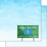 Scrapbook Customs - Welcome Road Sign Collection - 12 x 12 Double Sided Paper - South Dakota